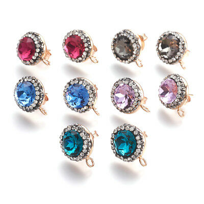 20pcs Colorful Brass Pave Cubic Zirconia Earring Posts Light Gold Loop Ring 17mm