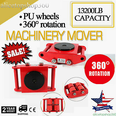 6T Heavy Duty Industrial Machinery Mover w/ 360°Rotation Cap 13200lbs Swivel Top