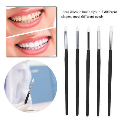 5Pcs Dental Silicone Brush Pens For Adhesive Composite Resin Cement Porcelain