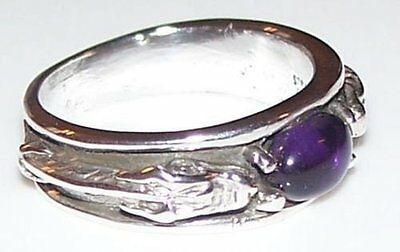 Medieval Dragon Ring .925 Sterling Silver with Natural Amethyst gem Size 9 ring