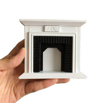 1:12 Dollhouse Miniature Furniture Room Wooden Vintage Black White Fireplace