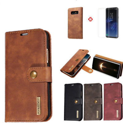 Tempered Glass Film for Samsung Phone Stand Flip Leather Card Wallet Case Cover