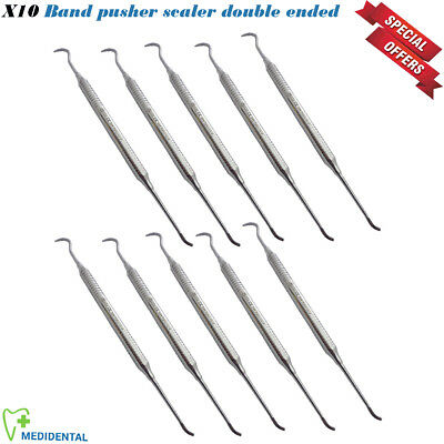 Set Of 10 Band Pusher Scaler Double Ended Light Weight Handle Orthodontic Lab CE