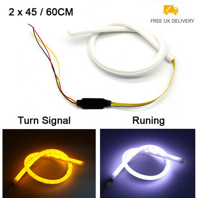 2PCS 45/60cm Sequential LED Daytime Running Light Turn Signal Switchback DRL SUN