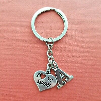 Swim Keyring Initial Letter A to Z Keychain Swimmer personalised gift swimming