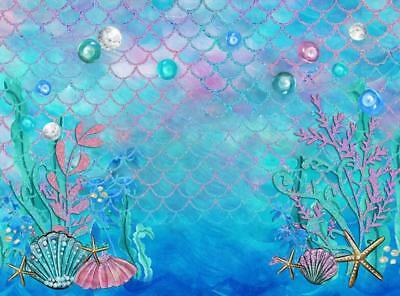 Sea Mermaid Birthday Party Photo Booth Backdrop Fishes Under the Sea Princess