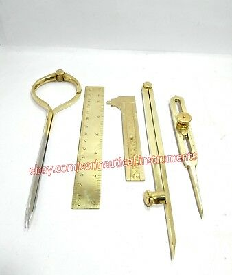 Set of 5 Pieces Brass Instruments Tools Dividers & Scale with Wooden Box
