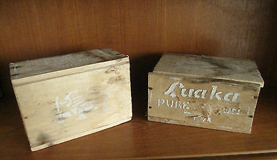 2 Vintage 1940s 1950s Wood Wooden Luaka Ceylon Tea Storage Box Caddy Shabby Chic