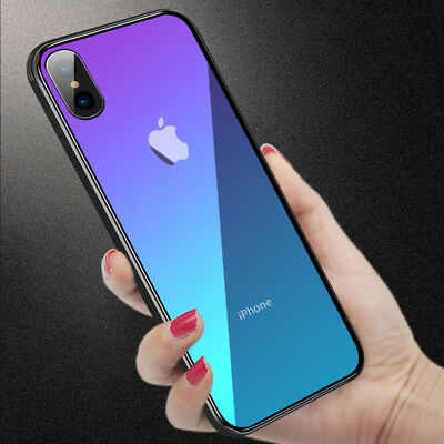 Luxury For IPhone XS MAX XR X 8 7 6Plus Ultrathin Gradient Glass Shockproof Case