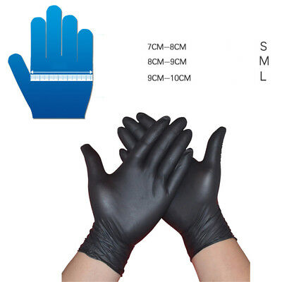 10,50,100x Black Strong Nitrile Gloves Powder Latex Free Mechanic TattooGloveFO