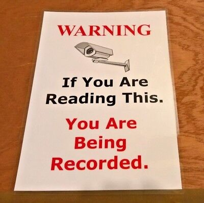 A4 Security Camera warning sign laminated including sticky pads