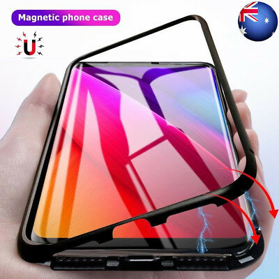 For Samsung Note 9 S9+ Magnetic Adsorption Metal Flip Tempered Glass Case Cover