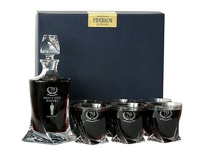 Personalised Wedding Anniversary Crystal Gift Set Engraved Decanter + 6 Glasses
