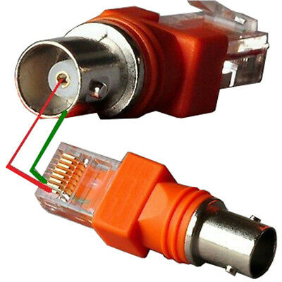 Orange RJ45 To RF Connectors BNC Female To RJ45 Male Adapter Connector