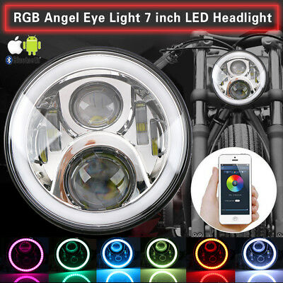 Chrom 7 Zoll LED Scheinwerfer RGB Angel Eyes Bluetooth für Jeep Wrangler Lada
