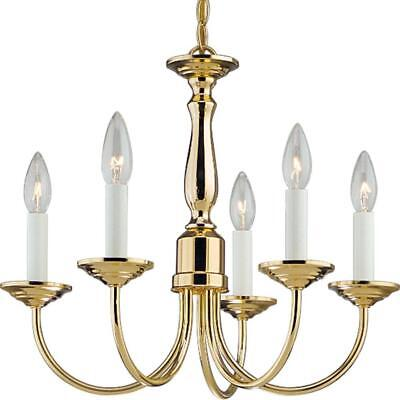 Progress Lighting Chandelier 5-Light Polished Gold Brass White Candle Sleeves