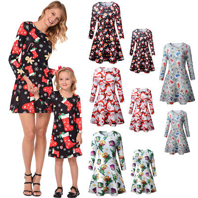 Family Outfits Mother Daughter Matching Dresses Women Girls Christmas Dress Gift