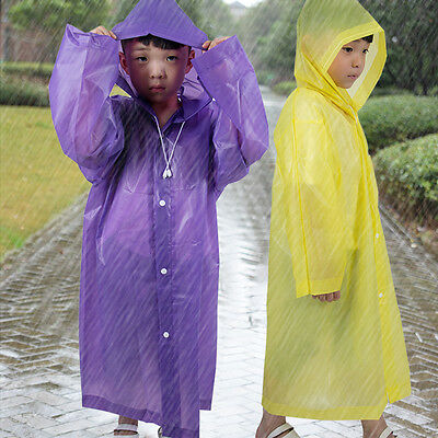 Boys Kids Children Suger Color Hoodie Poncho Raincoat Rain Jacket Coat Cover