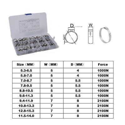 100pcs 304 Stainless Steel Single Ear Hose Clamps Kit 5.3-15.3mm Storage Box