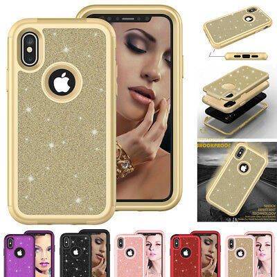 Luxury Bling Shockproof Hybrid Armor Case for iPhone Xs Max/Xr/X 8 Glitter Cover
