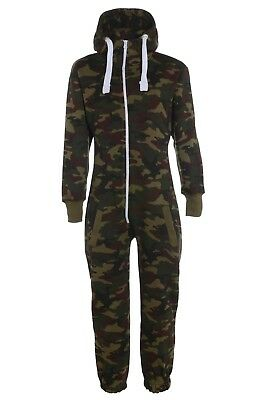 Kids Army Camo Print Hooded Jumpsuit All in One Boys Fleece Size 5-14 yr