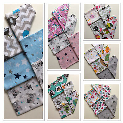 3 Pack LARGE Printed Muslin Squares 100% COTTON Baby Cloth Reusable Nappy Bibs
