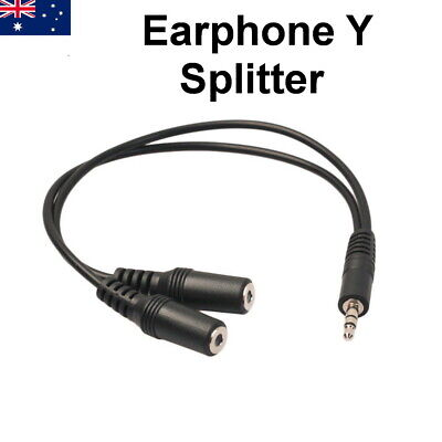 Earphone Y Splitter 3.5mm Jack 2 Plug Audio AUX Cable Auxiliary Stereo Adapter