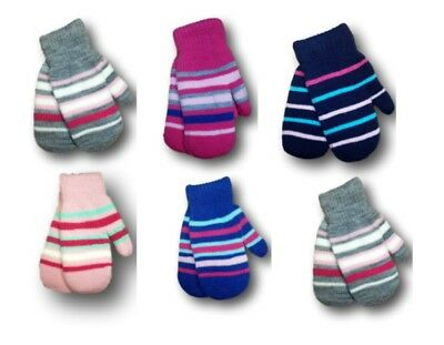 Girls Toddler Children Kids Soft Stripy Warm Winter Mittens Gloves Size 2-6Years