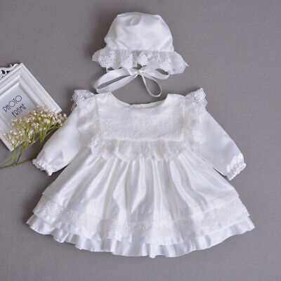 Vintage Tutu Baby Lace Baptism Gown Toddler Embroidery Christening Dress Bonnet