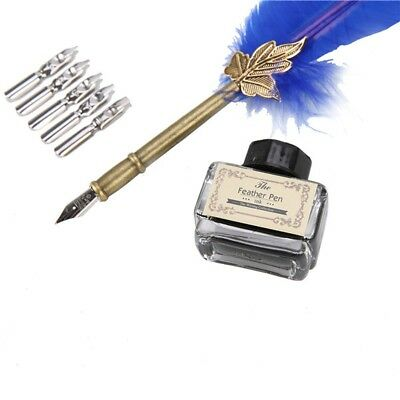 Antique Feather Quill Dip Pen Writing Ink Set Rare Stationery Gift w/ Box (Blue)