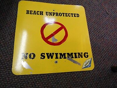 "Vintage Manasquan Beach    ""Unprotected, No Swimming "" Original Alum. SIGN"