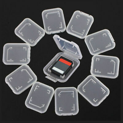 10 Transparent Standard SD SDHC Memory Card Case Holder Box Storage PN