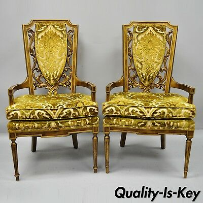 Pair of High Back Hollywood Regency French Style Gold Flame Carved Armchairs