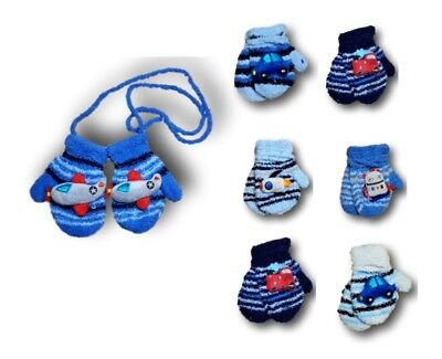 Baby Boys Toddler Winter Fluffy Mittens With String Toy Gloves Size 1-3 Years