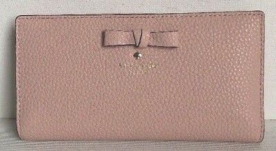 New Kate Spade Stacy Pershing Street Pebble Leather wallet Warm Vellum