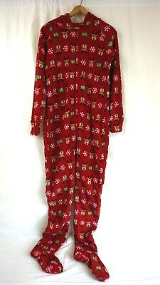 Macys Adult Red Reindeer Holiday Hooded Fleece Zip Up Footed Pajamas S, M, L, XL