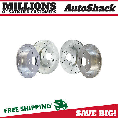 Front Rear Set (4) Drilled Slotted Performance Rotors For 1998-2002 Honda Accord