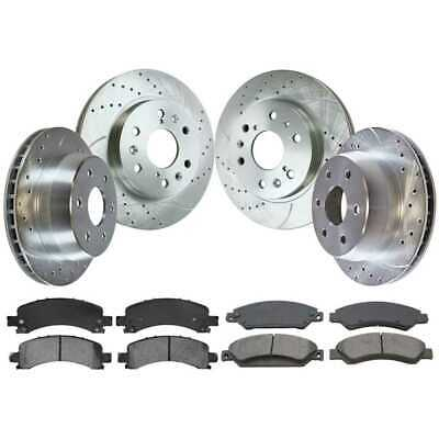 Front Rear Set Drill Slotted Rotors Ceramic Pad For 09-14 Chevrolet Express 1500
