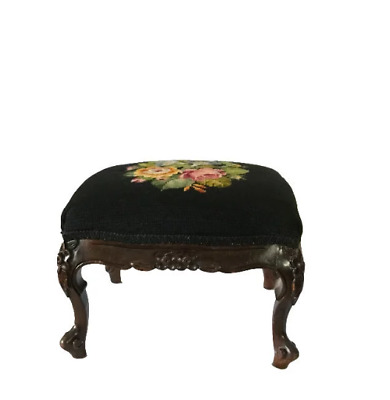 Antique Carved Queen Anne Needlepoint Footstool