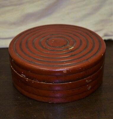 Antique Japanese Cinnabar Lacquered Box and Lid