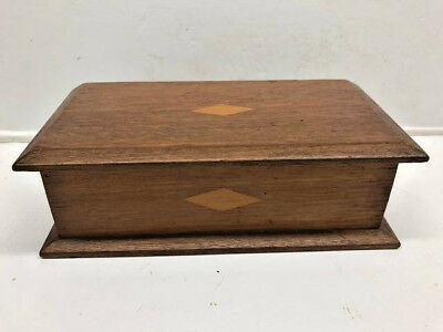 Old Mahogany Diamond Inlaid Lidded Candle Box with Handles