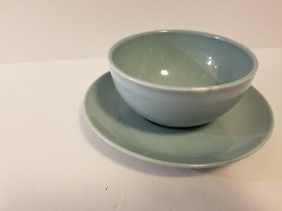 Vintage Iroquois Casual China Russel Wright Ice Blue Gravy Bowl Underplate Boat