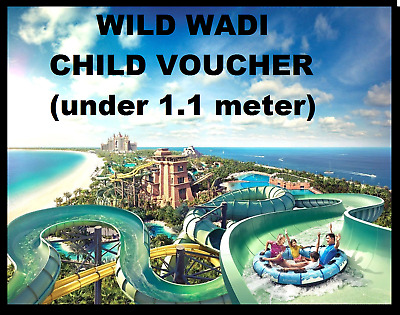 Wild wadi Entertainer Dubai 2018 child voucher below 1.1 meter e-voucher