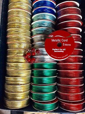 """10 Rolls Christmas Metallic Cords """"Job Lot"""" £1 Line. Mixed Colours. Crafts-Gift"""