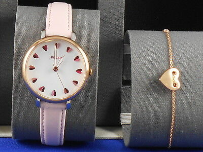 a858a5d609e Fossil Women s Rose Gold Pink Leather Jacqueline Watch Bracelet Gift  ES4351SET