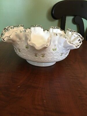 Vintage Fenton Milk Glass Ruffle  Ten Inch Bowl