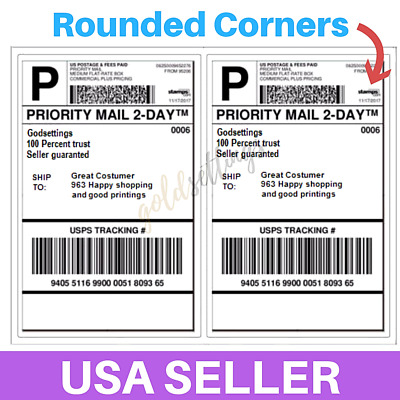 100 Shipping Labels Rounded Corner 2 Per Sheet 8.5 x 11 Self Adhesive Half-Sheet