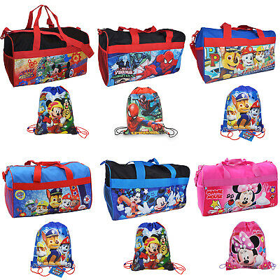 "Mickey Minnie Spider-Man Paw Patrol Duffel Bag 18"" & Sling Bag 2Pc Set CHOOSE"