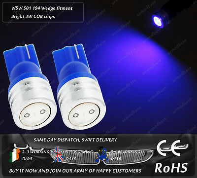 W5W T10 Wedge 501 LED COB Xenon Blue Car Side Lights Parking Bulbs Lamps 12v