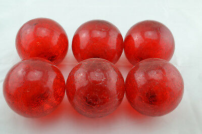 """6 Pcs Decorative Reproduction Glass Float Fishing Ball 4"""" Red"""